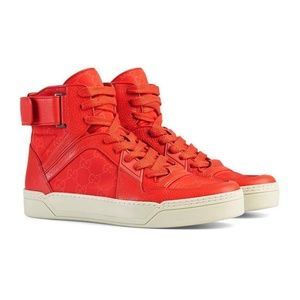 Gucci Red Leather / Nylon High Top Sneakers 409766